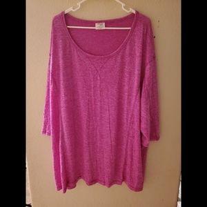 DANSKIN NOW 3X Pink Knit Long Sleeve Top Blouse